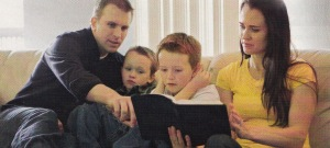 Family Studying Scriptures Together