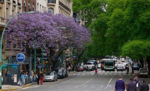 Avenida Santa Fe, Plaza Gral. San Martin, Barrio Retiro, in Buenos Aires, Argentina