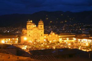 Plaza de Armas at night in Cuzco, Peru