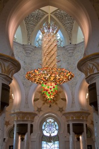 The main prayer hall features the world's second largest chandelier, ten meters in diameter, fifteen meters in height, and weighs nine tons.