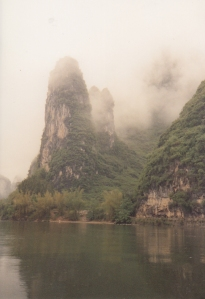 The misty mountains of Yangshuo and Guilin in the Li Jiang river region of China