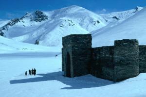 Winter at Caravan Sarayi, 15th Century Roadside Inn on Ancient Silk Road, near Tash Rabat, Kyrgyzstan