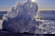 ocean-big splash at Cape Kiwanda State Natural Area in Oregon