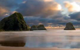 Sea stacks, Crescent Beach, coast of Oregon