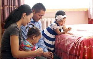 Family Prayer In Mongolia