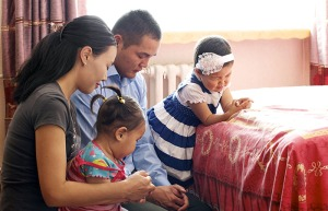Family Prayer In Mongolia